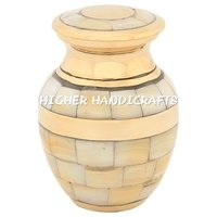 Mother of Pearl Double Band Brass Keepsake Urn
