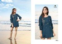 BOLD -3 Rayon Base fabrics With Machine Embroidery Short Kurtis