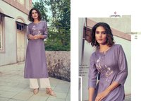 STYLE ON Viscose Moss Long Kurti & Handwork with Plazzo