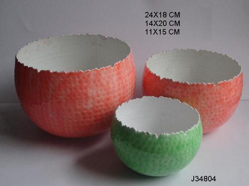 Ceramic Finish Bowl Votive Holder Two Tone