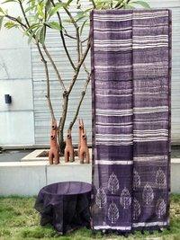 Linen Silk Shibori Printed Saree