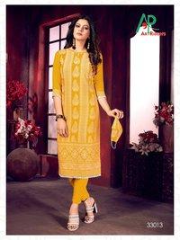 Mall Culture Premium Vol 5 Lakhnavi Style Structure Print Rayon Slub Kurtis