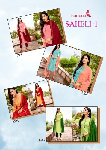 Saheli-1 Fancy Viscose With Cotton Kurtis Pant with Duppata