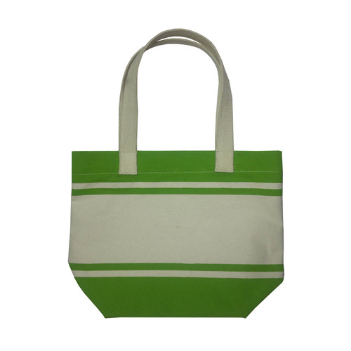 12 Oz Natural Canvas Striped Print Tote Bag