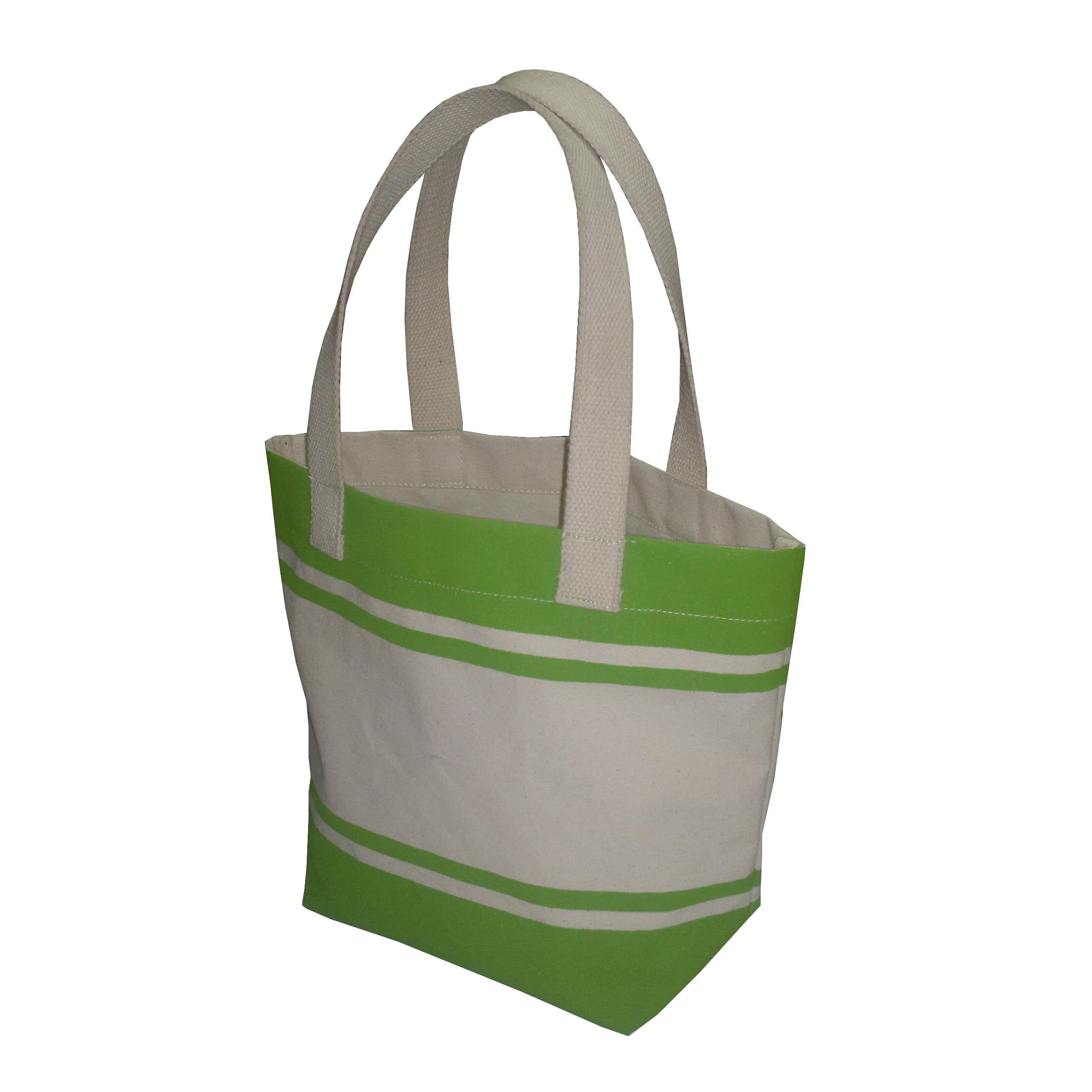 12 Oz Natural Canvas Striped Print Tote Bag
