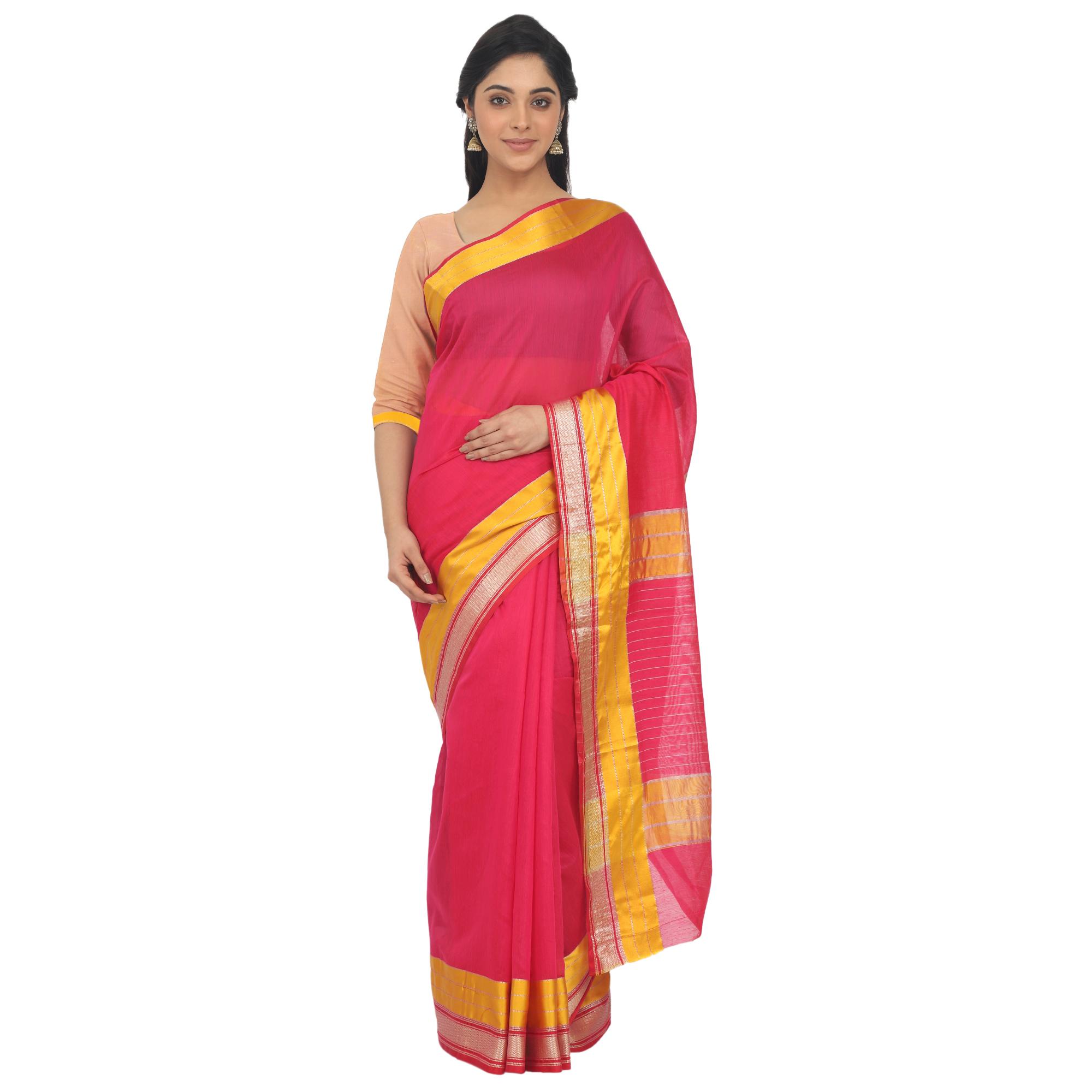 Leeza Store Cotton Silk Maheshwari Saree With Unstitched Blouse Piece