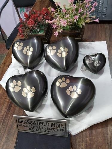 Brass Heart Dark Grey Pet Paws Urn