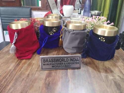 Brass Pet Tea light Cremation Urn With Velvet Bag