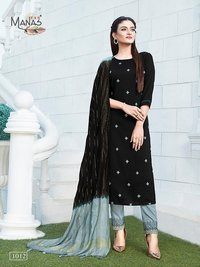 Delight Vol 2 Designer Chinon Silk With Cotton Inner With Embroidery Work Kurtis