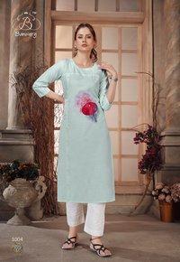 Baby Girl Designer Heavy Premium Cotton With Digital Print And Hanwork Kurtis