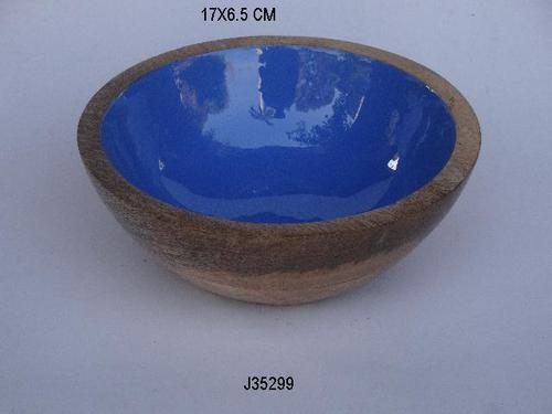 Mango Wood Bowl With Enamel