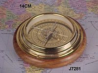 Brass Compass With Wooden  Base