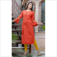 Ladies Bell Sleeves Plain Rayon Kurti