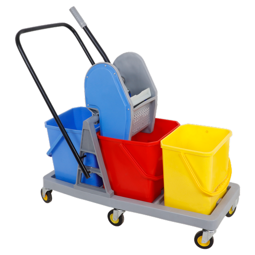 Three Bucket Mop Trolley