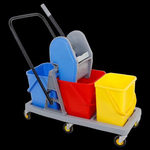 Three Bucket Mop Trolley