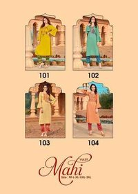 Mahi Vol 1 Heavy Rayon With Embroidery & Hand Work Kurtis Pant
