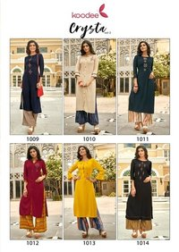 Crystal-2 Classic Rayon Kurti Plazzo With Embroidery Work