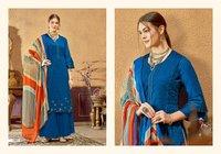 Leela Designer Cotton  Satin  With Thread  Work Dress Materials