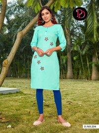 Gunjan Vol 2 Designer Slub Cotton With Embroidery Kurtis