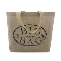 Cotton Web Handle Logo Print Pp Laminated Jute Tote Bag