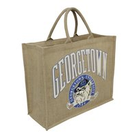 PP Laminated Jute Tote With Padded Rope Handle & Pocket On Back Of Bag
