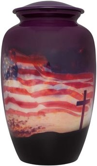 Flag & Cross Cremation Urn