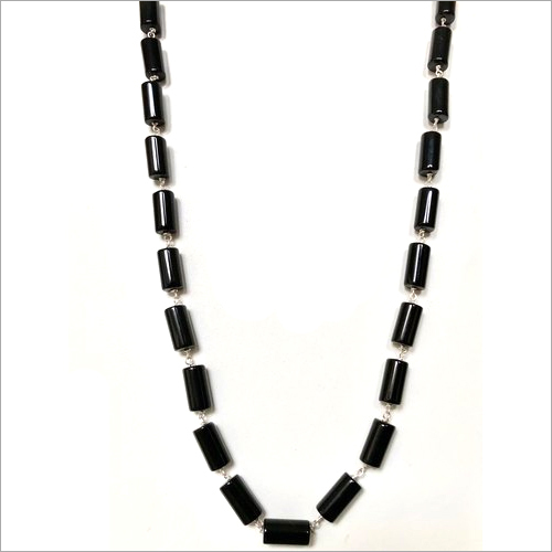 Handcrafted Black Onyx In Silver Wire Necklace