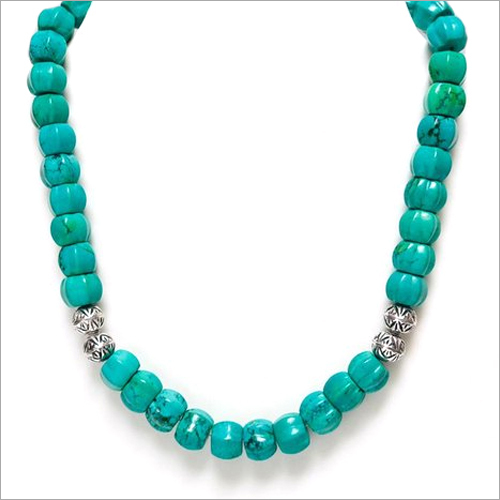 Turquoise Kharbuja Shape With 92.5 Silver Beads Necklace