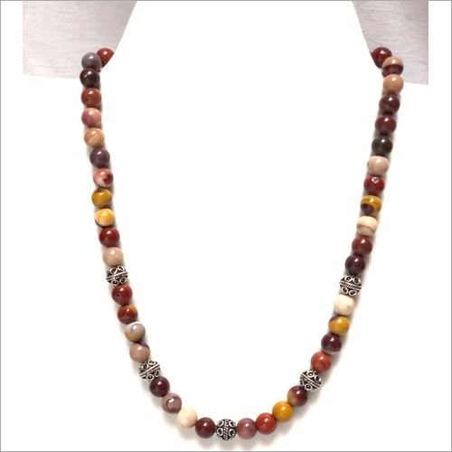 Jasper With Silver Beads Necklace