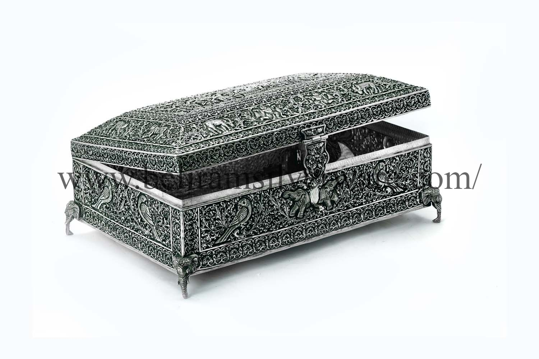 Ram Darbar Antique Silver Box On Elephant Trunk Legs