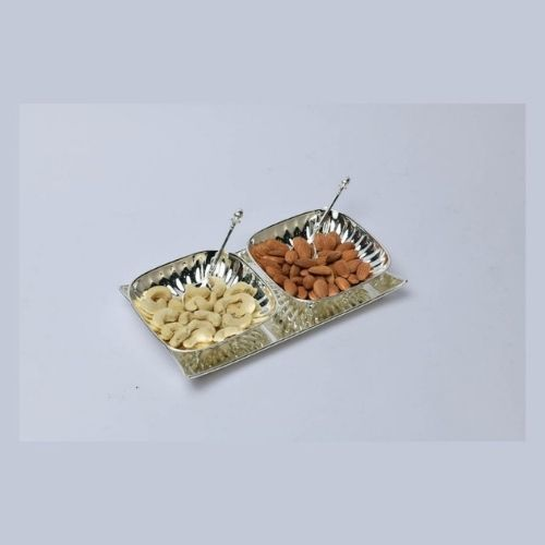 Square Fluted Bowls With Tray Set of 2