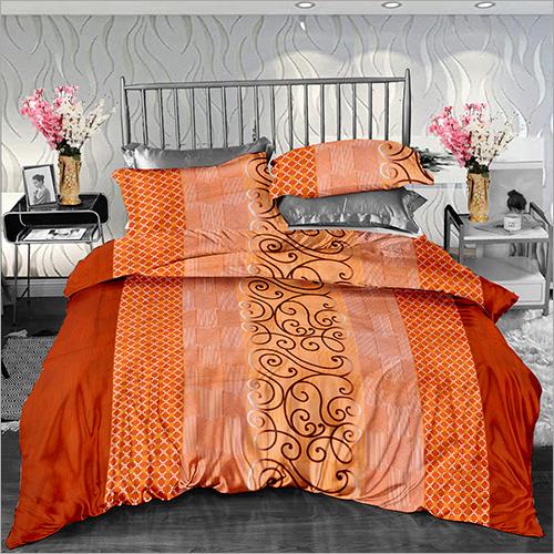 Orange Colour Cotton Printed Double Size Bed Sheet