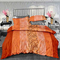 Orange Colour Cotton Printed Double Size Bed Sheet