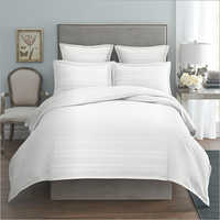 White Satin Stripe Hotel Bed Sheet Set