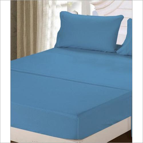 D Blue Satin Plain Dyed Bed Sheets Bed Sheet