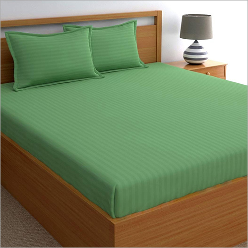 Green Satin Stripe Dyed Bed Sheets