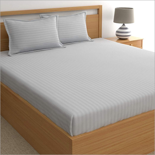Grey Satin Stripe Dyed Bed Sheets
