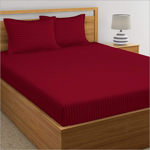 Maroon Satin Stripe Dyed Bed Sheets
