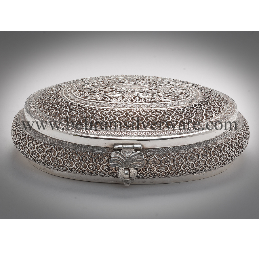 Flower Carved Nakshi Silver Box