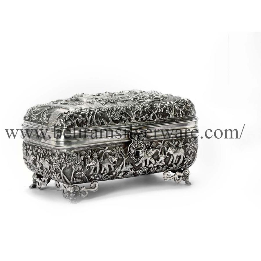 Elephant Nakshi Rectangle Silver Box