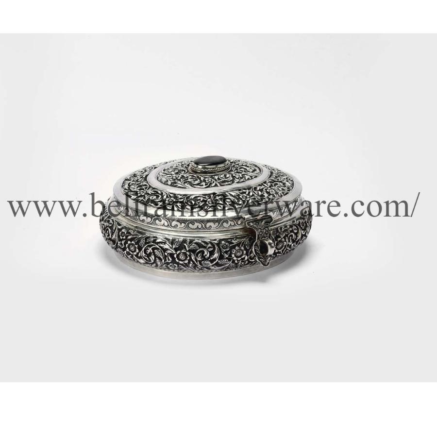 Antique Green Stone Nakshi Silver Box