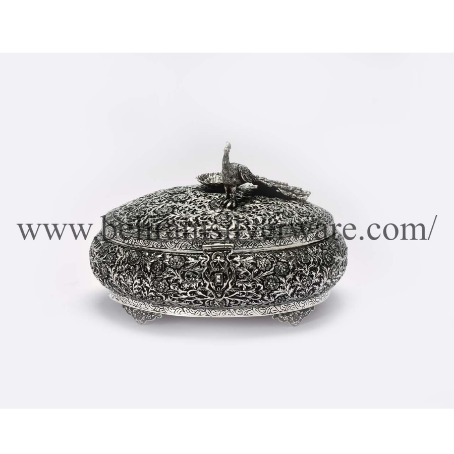 Perched Peacock Round Silver Box