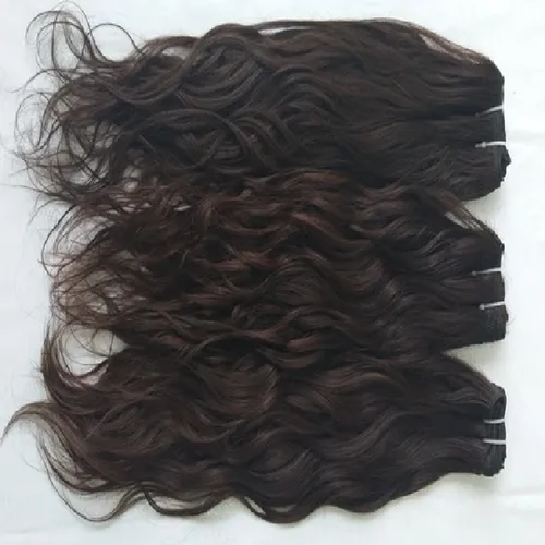 Natural Wavy Indian Human Hair With Bulk Temple Hair Extensions