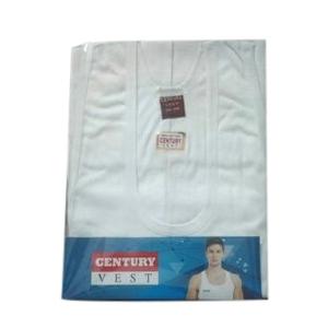 Mens White Cotton Vest