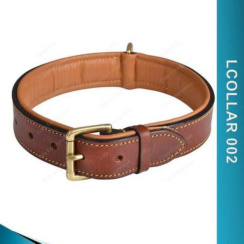 Brown Padded Dog Collar - Lcollar 002