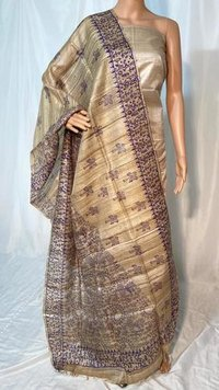 PURE GHEECHA TUSSAR SILK BLOCK PRINTED LONG DUPATTA .