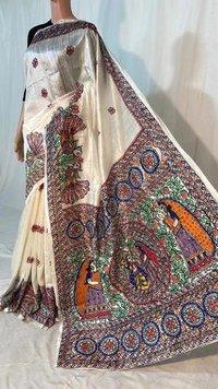 Madhubani Hand Painted Pure Dupion Raw Silk Handloom Saree .