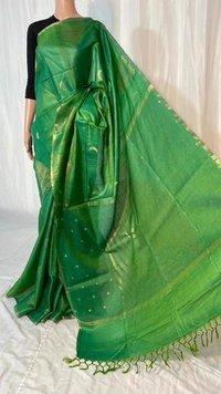 Pure Tussar Silk Handloom Hand Border Saree .