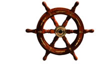Wooden Ship Wheel With Brass Anchor 18 Inch