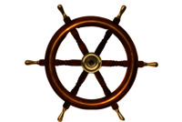 18 Inch Wooden Ship Wheel With Brass Ring And Handle